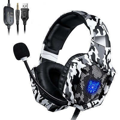 ONIKUMA K8 Gaming Headset MIC LED Stereo Bass for PC Laptop PS4 Slim Xbox One