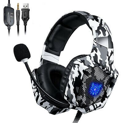 ONIKUMA K8 3.5mm Gaming Headset LED MIC Headphones for PC Laptop PS4 Xbox One S