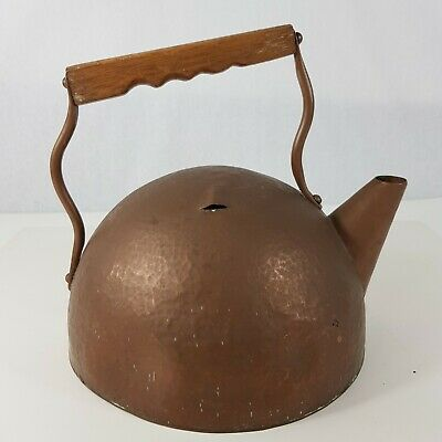 Unusual Early 20th Century Arts And Crafts Copper Kettle Wooden Handle