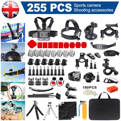 255x Action Camera Accessories Kit For Gopro Hero7 6 5 4 3+ 2 Black/Silver/White