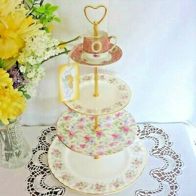 Summer Glory 4 Tier Cake / Mad Hatter Stand / Centre Piece - Tea Rooms etc