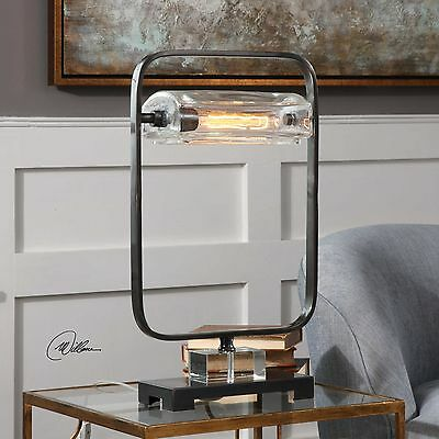 Pilato Urban Industrial Inspired Metal Glass Accent Table Lamp Crystal Detail