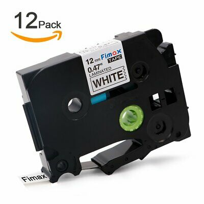 12PK Compatible Brother P-Touch TZe-231 TZ231 TZe231 12mm Black on White Tapes