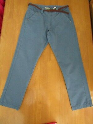 Next Girls Blue Belted Cotton Chino Trousers - Age 10 Years