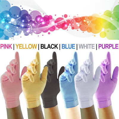 Strong Nitrile Disposable Gloves Powder Free Latex Free All Colours Clear Vinyl