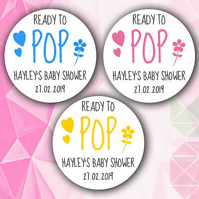 48 x Personalised Baby Shower Stickers Labels Ready to Pop Mummy Birth Pregnancy