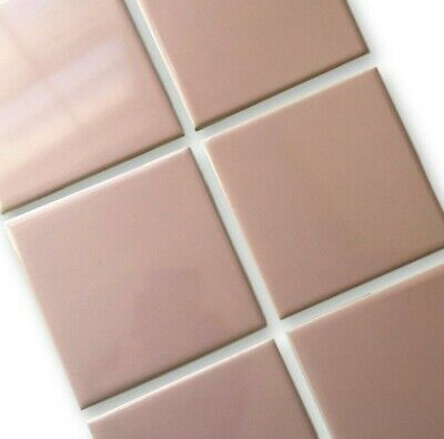 6 Vintage Mid Century LIGHT PINK Tiles New Old Stock H&R Johnson 1960's ENGLAND