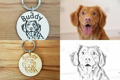 Personalised Engraved Wooden  PlasticPet ID Collar Tags Cat Dog 40mm Paw Print