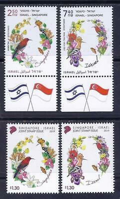 Israel Singapore 2019 Joint Issue Israel Both Sets 2 Stamps Mnh Birds Flowers