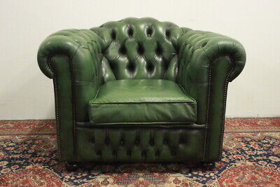 Poltrona Pelle Verde.Poltrona Club Chesterfield Chester In Pelle Verde Green Originale Inglese