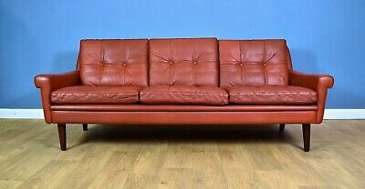 Mid Century Retro Danish Skippers Mobler Red Leather 3 Seat Sofa Settee 1960s