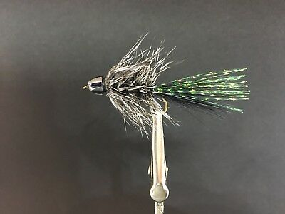 MAB Lures Flies Streamer Simple Conehead Woolly Bugger #8 Black/Grey (Trout)