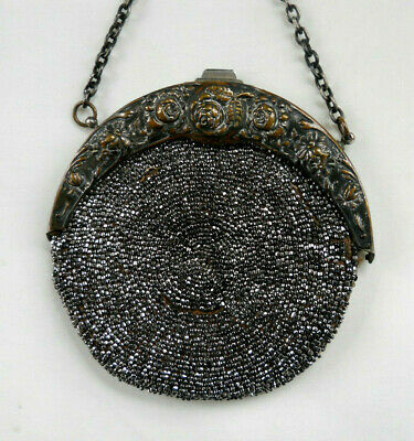 Antique CHATELAINE Circular Silvered Beaded Bag Floral  Frame Pat'd July 2, 1901