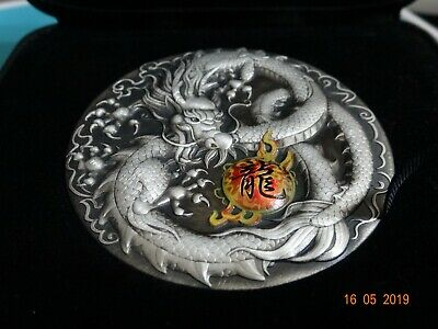 2019 5 OZ TUVALU DRAGON 9999 SILVER ANTIQUED COLOURED PROOF COIN (Available now)