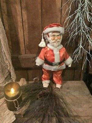 Primitive OLD  Folk Art Santa Claus Christmas Decor Cottage Cabin OLD Antique