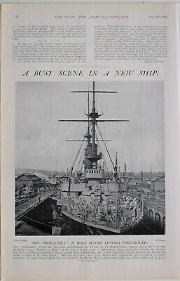 1901 Print The Implacable In Dock Before Leaving Portsmouth