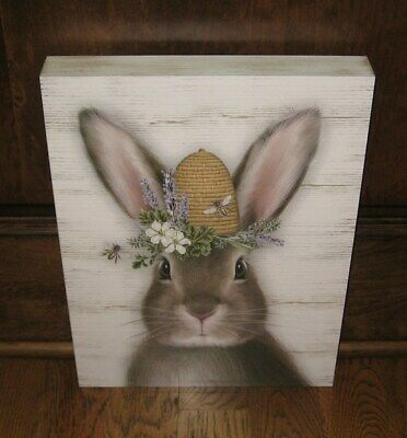 BUNNY Rabbit w/Bee Hive PICTURE*Primitive/French Country Home/Farmhouse Decor
