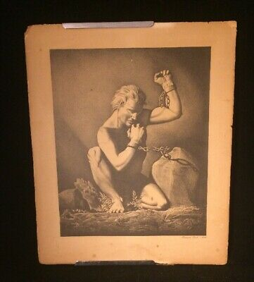 "Rockwell Kent ""Prometheus Unchained"" Art Deco Offset Litho Artist Proof Scarce++"