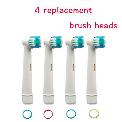 4Pcs Replacement heads Toothbrush for Oral B Braun Models Floss Action Pro white