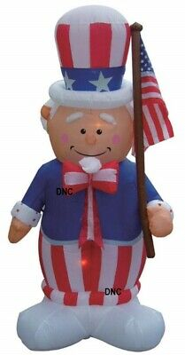 8 Foot Patriotic Airblown Inflatable Uncle Sam Holding Flag Lighted Yard Decor