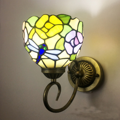Tiffany Style Stained Glass Wall Sconce Dragonfly Flower Wall Lamp Vintage light