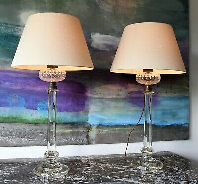 A Pair of Vaughan Lighting Cambray Column Glass Brass Hall Bed Side Table Lamps