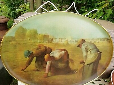 Large Vintage Oval Keswick Fibreglass Tray Fox Millet The Gleaners  53cm Long