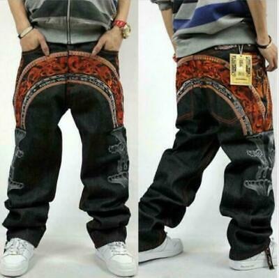 Men's Skate Baggy Loose embroidery Rap Hip Hop Jeans Denim Trousers Pants Boys