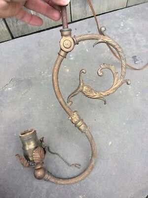 Antique Converted Gas Electric Ceiling Fixture Fish Motif C 1885 Steampunk