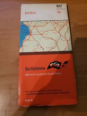 Vintage Bartholomew Cloth Map 40 Ayrshire
