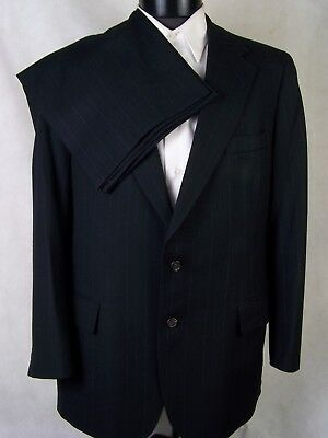 Polo University Club Suit Dark Blue Striped Wool USA