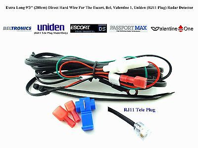 "Extra Long 9'3"" / 280cm Direct Hard Wire For Uniden Valentine 1 Radar Detector"