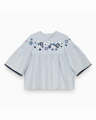 Tartine Et Chocolat Cornflower Tunic With Embroidered Flowers 4Y