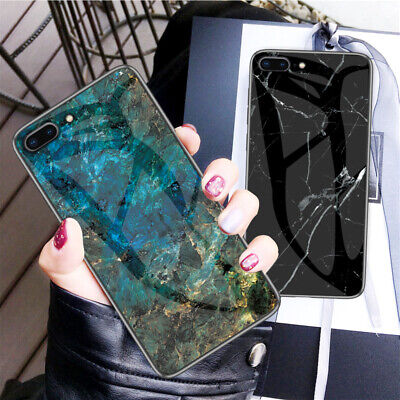Marble Tempered Glass Hybrid Slim Hard Case Cover For iPhone XR XS 6S 7 8 Plus