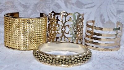 Lovely Set of 4 Vintage And Modern Gold Tone Cuff Bangles