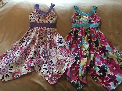 """Two """"All Dressed Up"""" Girls Summer Floral Dresses Age 3 Years With Sequin Details"""