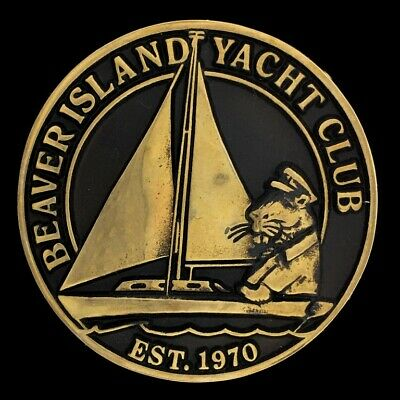 Beaver Island Yacht Club Michigan Marina NOS 1980s Brass Vintage Belt Buckle
