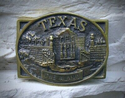 Vtg Heritage Mint Solid Brass Texas The Alamo Belt Buckle Registered Collection