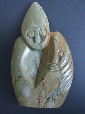 African Hand Carved Stone Two Figures Statue Africa Green Jadite Granite Vnt.
