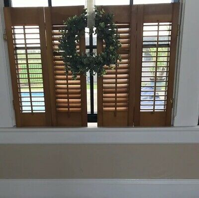 """Plantation Style Window Shutters Vintage Wood Approx 33"""" Wide 25""""high Louvered"""