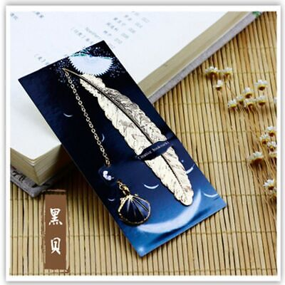1pc Retro Metal Feather Bookmark Creative Book Mark Stationery Gift