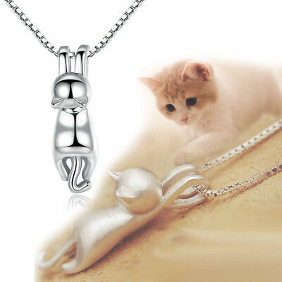 925Silver Plated Necklace 3D Brushed Running Cat Pendant Lovely Kitten Jewelry