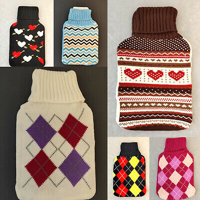 New 2L Hot Water Bottle Cover Only Warmer Heat Soft Bag Knitted Cover