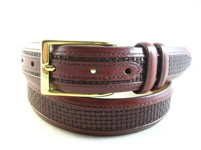 "NEW Allen Edmonds ""WOVEN INLAY"" Dress Belt #28006   Size 32  Chili   (662)"