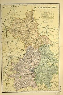 1895 Antique Map Cambridgshire Caxton Ely Arch Peterborough Newmarket