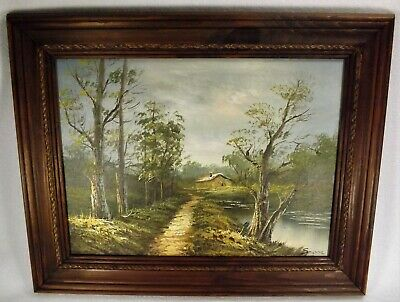 "Hand Painted Oil on Canvas Forest Cottage Wood Frame Signed 20"" x 16"" Beauty"