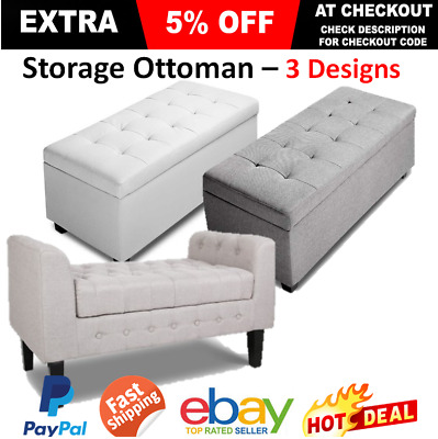 Storage Ottoman Bench Bedroom Decor Furniture Extra Lounge Seat Large Footstool