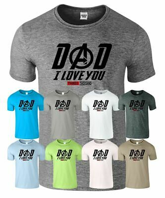 Dad I Love You 3000 Times Mens T-Shirt Movies Inspired Tee Fathers Day Gift Uni