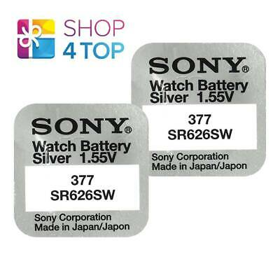 2 Sony 377 Sr626Sw Batteries Silver Oxide 1.55V Watch Battery Exp 2021 New