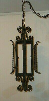 Vintage Gothic Spanish Revival Wrought Iron Chandelier Light